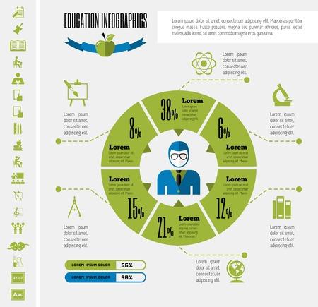 computer education: Education Infographic Elements plus Icon Set. Vector.