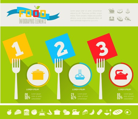 plate of food: Flat Food Infographic Elements plus Icon Set. Vector. Illustration