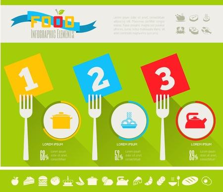 plus icon: Flat Food Infographic Elements plus Icon Set. Vector. Illustration