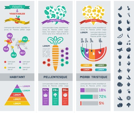 Flat Healthy Food Infographic Elements. Icon Set. Vector. Vector
