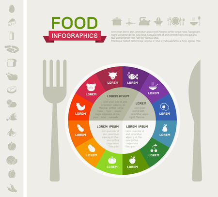 Flat Healthy Food Infographic Elements. Icon Set. Vector. Ilustração
