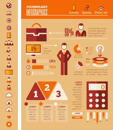 opportunity: IT Industry Infographic Elements. Opportunity to Highlight any Country. Vector Illustration EPS 10. Illustration