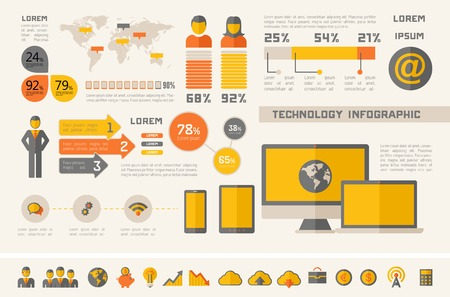industry icons: IT Industry Infographic Elements. Opportunity to Highlight any Country. Vector Illustration EPS 10. Illustration