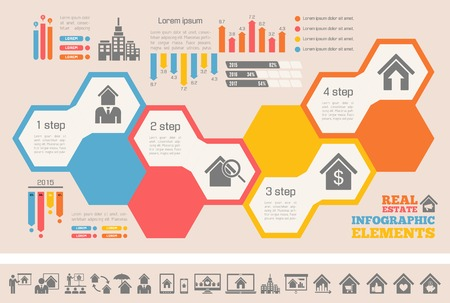 real: Real Estate Infographic Elements plus Icon Set. Vector.