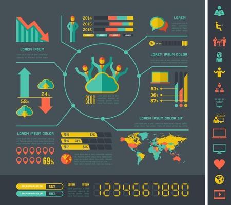 social gathering: Flat Social Media Infographics plus Icon Set. Vector.