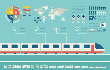 motor transport: Flat Transportation Infographic Elements plus Icon Set. Vector.