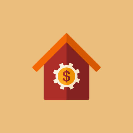 Real Estate Flat Icon. Vector. Çizim