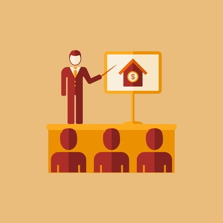 valuation: Real Estate Flat Icon. Vector. Illustration