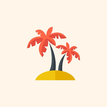 med: Palm. Travel Flat Icon with Shadow. Vector Pictogram.