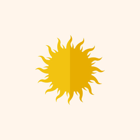 Sun Flat Icon with Shadow. Vector Pictogram.