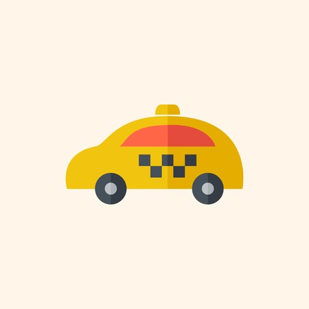 Taxi. Travel Flat Icon with Shadow. Vector Pictogram.