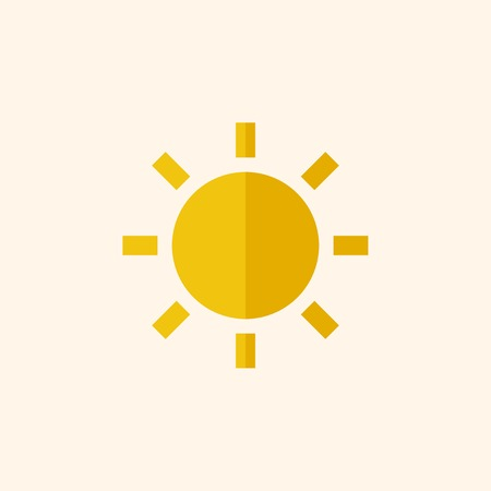 Sun. Travel Flat Icon with Shadow. Vector Pictogram.