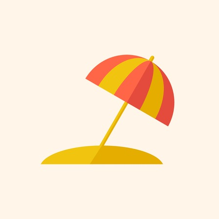 med: Beach. Travel Flat Icon with Shadow. Vector Pictogram.