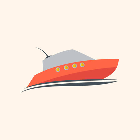 med: Boat Flat Icon with Shadow. Vector Pictogram.