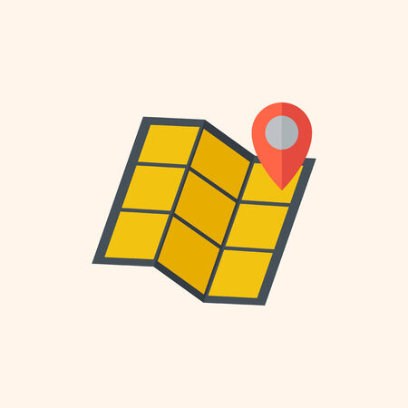med: Map. Travel Flat Icon with Shadow. Vector Pictogram. Illustration