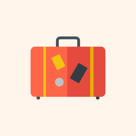 Luggage. Travel Flat Icon with Shadow. Vector Pictogram. Иллюстрация