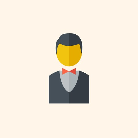 med: Bellboy. Travel Flat Icon with Shadow. Vector Pictogram. Illustration