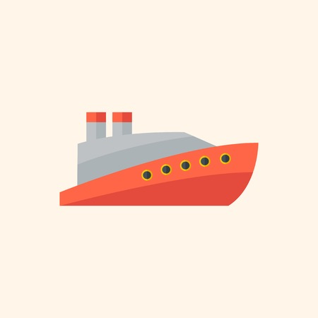 Boat Flat Icon with Shadow. Vector Pictogram.