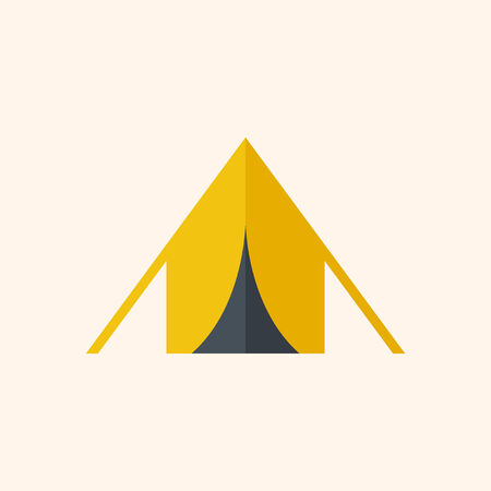 Camping. Travel Flat Icon with Shadow. Vector Pictogram. Ilustração