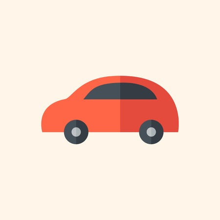 med: Car Flat Icon with Shadow. Vector Pictogram.