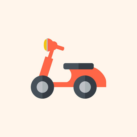 Scooter Flat Icon with Shadow. Vector Pictogram. Иллюстрация