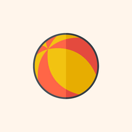 Ball. Travel Flat Icon with Shadow. Vector Pictogram.