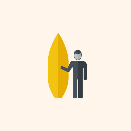 med: Surfing. Travel Flat Icon with Shadow. Vector Pictogram.