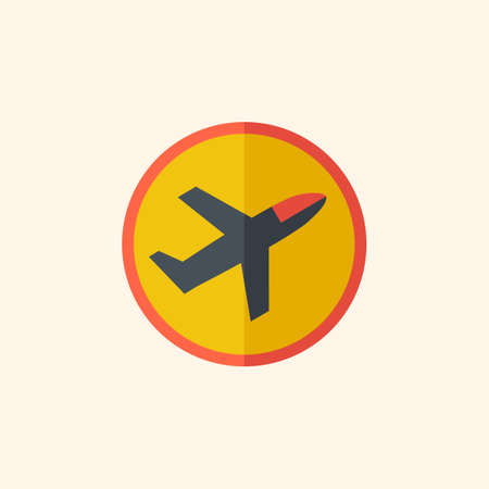 med: Airplane. Travel Flat Icon with Shadow. Vector Pictogram.