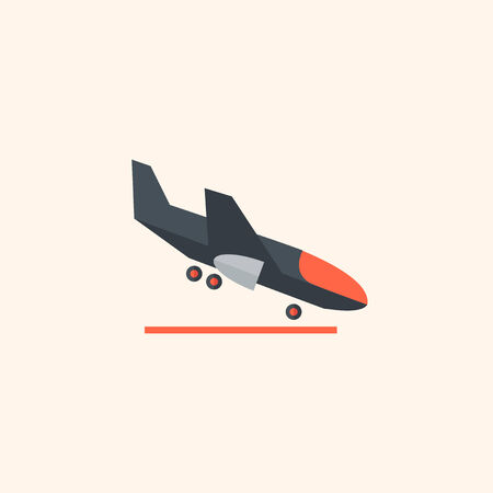 Airplane. Travel Flat Icon with Shadow. Vector Pictogram.