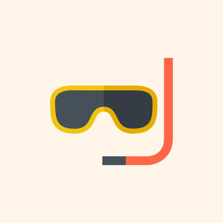 skin diving: Snorkeling. Travel Flat Icon with Shadow. Vector Pictogram. Illustration