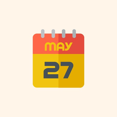 med: Calendar. Travel Flat Icon with Shadow. Vector Pictogram.
