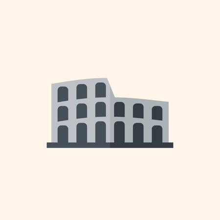 amphitheatre: Attraction. Travel Flat Icon with Shadow. Vector Pictogram.