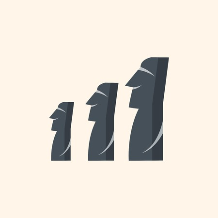 moai: Attraction. Travel Flat Icon with Shadow. Vector Pictogram.