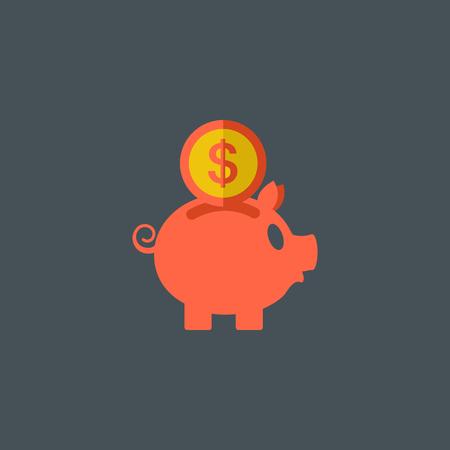 Piggy Bank Flat Icon.