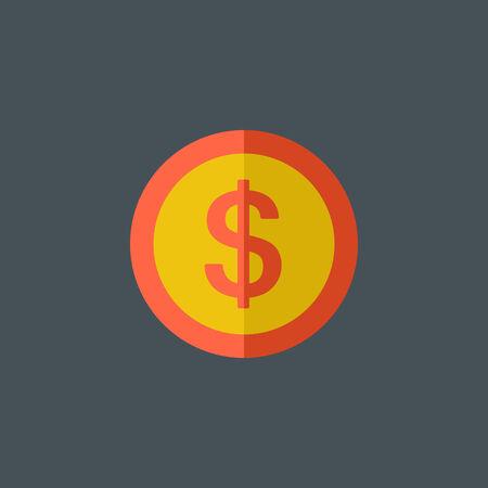 Dollar teken Flat Icoon. Stock Illustratie