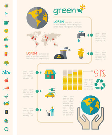 human energy: Flat Infographic Elements. Opportunity to Highlight any Country on the World Map. Vector Illustration EPS 10.