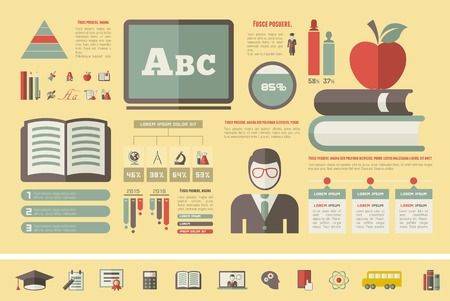Education Infographic Elements plus Icon Set. Vector. Vector