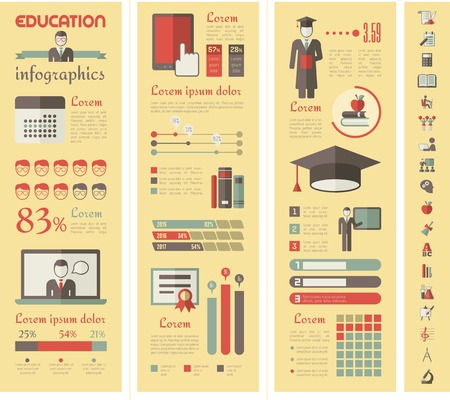Education Infographic Elements plus Icon Set. Vector.