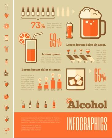 alcohol: Flat Alcohol Infographic Elements plus Icon Set. Vector.