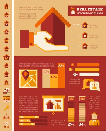 debt collection: Real Estate Infographic Elements plus Icon Set. Vector.