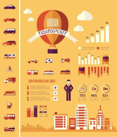 plus icon: Flat Transportation Infographic Elements plus Icon Set. Vector.