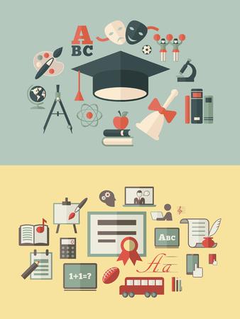 plus icon: Education Infographic Elements plus Icon Set Illustration