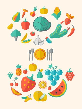Flat Healthy Food Infographic Elements Icon Set