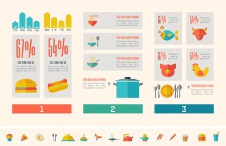 plus icon: Flat Food Infographic Elements plus Icon Set