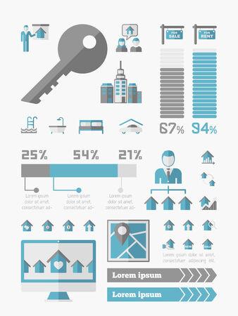 Real Estate Infographic Elements plus Icon Set Vector