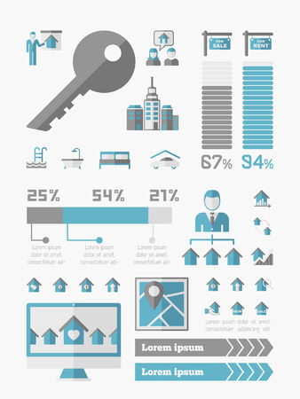 real estate investment: Real Estate Infographic Elements plus Icon Set