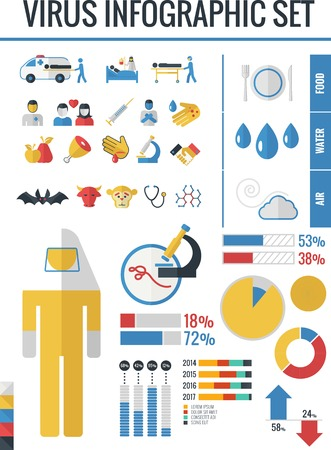 Flat Medical Infographics Elements plus Icon Set. Vector. Vector