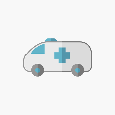 med: Ambulance. Medical Flat Icon. Vector Pictogram.