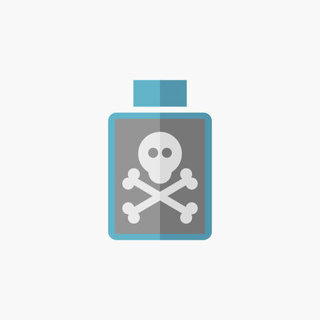 poison bottle: Poison. Medical Flat Icon. Vector Pictogram.