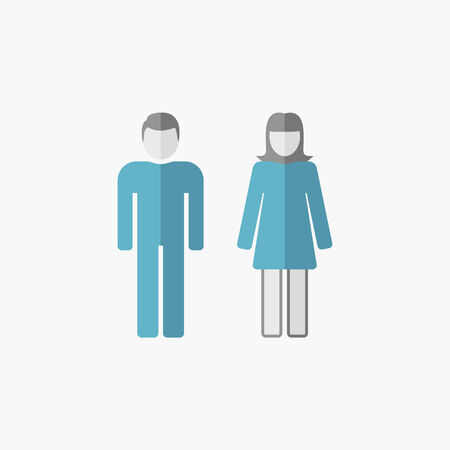 Man and Woman. Flat Icon. Vector Pictogram.
